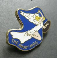 ARMY AIR FORCE NOSE ART PINUP ANGRY ANGEL GIRL LAPEL HAT PIN BADGE 1 INCH