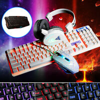 LED USB Wired Backlight Gaming Keyboard Mouse Headset Set For PC LOL PUBG