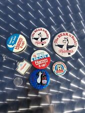 (6) Vintage Hamm's Beer Bear Pinback Buttons Pins & 1 Keychain