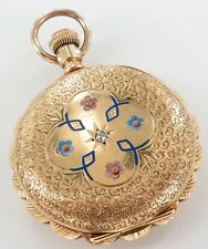 .A 14K Solid Gold & Diamond Encrusted 1894 Elgin 6S 13J Pocket Watch, Working.