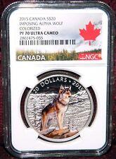 2015 CANADA $20 IMPOSING ALPHA WOLF SILVER COIN W/BOX-COA  NGC PF 70 ULTRA CAMEO