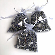 3 High Quality Kent Lavender Hand Made 7x9 White/Silver Love Hearts Organza Bags