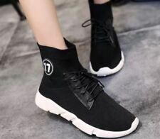 Tanggo Adie Fashion High Cut Shoes Women's Korean Sneakers (Black) Size 40