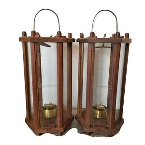 "Vintage MCM Pair Wood Candle Lanterns Mid-Century Sconces 12"" Tall Hexagon"