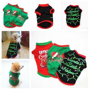 Winter Clothes Pet Dog Cat T-shirt Coat Christmas Xmas Santa Puppy Apparels Gift