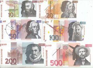 Slowenien  10, 20, 50, 100,200, 500 Tolarjev  1992   kassenfrisch