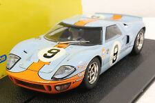 SCALEXTRIC C2403 GULF FORD GT40 W/HEADLIGHTS NEW 1/32 SLOT CAR IN DISPLAY CASE