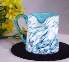 Art Glass Splatter Pitcher Creamer Vase Aqua Blue White Swirl Spatter Hand Blown