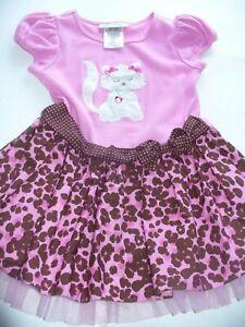 Bonnie Jean Toddler Girls Cat Dress Pink  2T EUC