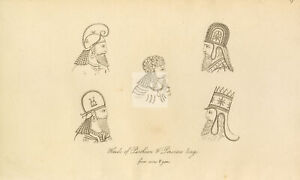 ANTIQUE Ancient Costume Print - Heads of Parthian and Persian Kings #F75