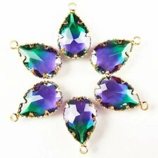 5Pcs Faceted Wrapped Purple Green Titanium Crystal Drop Pendant Bead W39BB