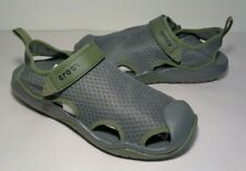 Crocs Size 11 SWIFTWATER MESH DECK Slate Grey Deck Sandals New Men's Shoes