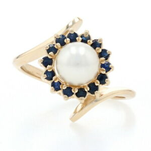 Yellow Gold Cultured Pearl & Sapphire Halo Bypass Ring - 14k Round .42ctw 6.1mm