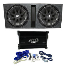 kicker enclosed powered car subwoofer kicker 15 600w dual loaded subwoofer box w 2000w 4 ch amplifier wiring kit