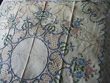 More details for vintage hand embroidered madeira linen tablecloth-exceptional still as metal tag