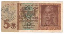 5 Reichsmark  1942  GERMAN  MONEY   WW II  with stamp AUDERGEM, Brabant