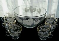 Anchor Hocking Glass Clear Grape Decorated Punch Bowl & 12 Cups 13 piece Set