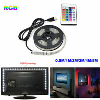 5050 USB RGB LED Strip Light Bar TV Back Lighting Kit+Remote Control 5V 60SMD/M