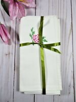 Vintage 1960s Off-White Fabric Napkins Hand Cross Stitch Embroidered Set Of 4