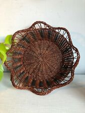 VINTAGE WOVEN WICKER CANE BOWL DISH BOHO HAND WALL DISPLAY PLANTER BOWL TIKI