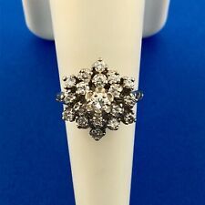 Estate 14K White Gold Diamond Star Cluster Princess Style Cocktail Ring