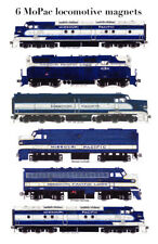 Missouri Pacific classic Diesel Locomotives Set of 6 magnets by Andy Fletcher