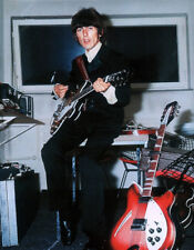 THE BEATLES POSTER PAGE GEORGE HARRISON EPIPHONE CASINO RICKENBACKER GUITARS 52G