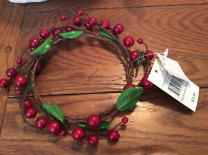 """New Yankee Candle Wreath Berry 4"""" Ring Large Jar Clear Clinger Wrap Sitter"""