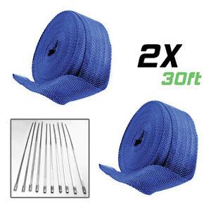 2 Roll x 2″ 30Ft Blue Fiberglass Exhaust Header Pipe Heat Wrap Tapew/20 Ties Kit