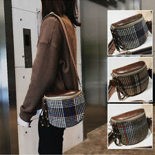 Women's Small Mini Faux Leather Plaids Single Shoulder Bag Crossbody Saddle Bag