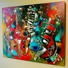"""KAT-""""Wall of Guitars""""-Gall Wrapped Original Acrylic Painting/Canvas/COA/30""""x 24"""""""
