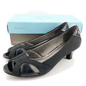 Lifestride Womens 8 M Lorna Pump Shoe Black Faux Leather Open Toe Block Heel