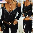 Women's Sexy V Neck Rhinestone T Shirt Top Ladies Cold Shoulder Slim Fit Blouse
