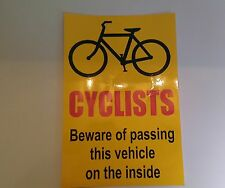 Cyclists Beware HGV / Commercial vehicle sticker 300 x 200mm