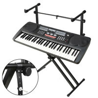 2-Tier Height Adjustable Double Braced X Frame Music Piano Keyboard Stand UK