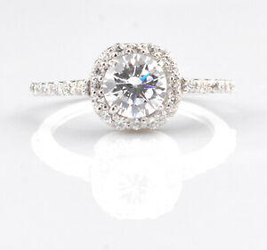 2.20 Carat D-Color Round Shape Solitaire Engagement Ring In 14KT White Gold