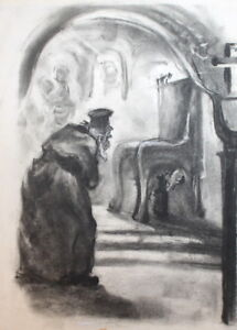 VINTAGE CHARCOAL DRAWING PRIEST PORTRAIT