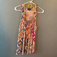 Rampage Women's Size Large Sleeveless Tunic Top Scoop Neck Beige Multicolor Bead