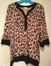 Beautiful Joseph A. Animal Print Top Size Large Beaded Leopard w/ 3/4  ct3