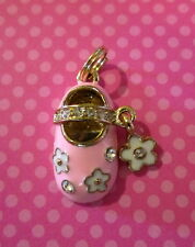 Crystal Baby Shoe Charm Pendant Pink & Gold Bootie