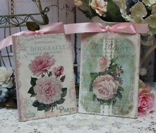 """~ Shabby Chic Vintage Country Cottage style Wall Decor Sign """"Fleurs"""" Set of 2 ~"""