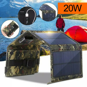 20W Folding Solar Panel Power Bank USB Battery Charger Outdoor Hiking Camping