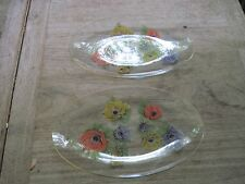 Two Sm. Very Delicate Clear Glass Oval Dishes with Floral Painted Design, Match