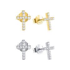 Girl's 925 Sterling Silver Small Cubic Zirconia Cross Stud Earrings