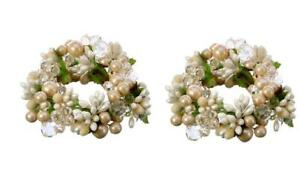 """Ivory Champagne Pearl Berry and Jewel Taper 5"""" Wide Candle Ring Set of 2"""