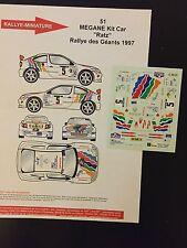 DECALS 1/43 RENAULT MEGANE MAXI KIT CAR MICHEL RATS RALLYE DES GEANTS 1997 RALLY