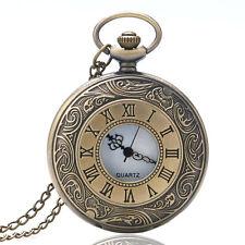Retro Vintage Bronze Quartz Pocket Watch Necklace Roman Number Steampunk Gift