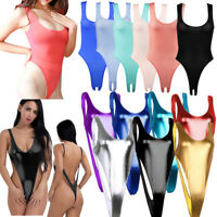 Women Wetlook Bodysuit High Cut Leotard Backless Thong Catsuit Clubwear Swimwear