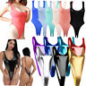 Womens Rompers Backless Wet Look Bodysuit Thong Leotard Catsuit Open Crotch Club