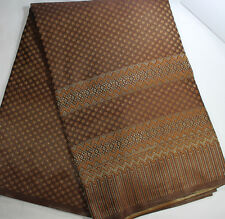 Brown  Thai Silk Fabric Stripes Woven for Sewing and etc Thailand 35381